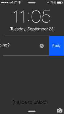 Message slid to left