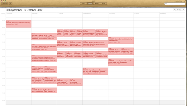 OOW Calendar for Data Warehousing and Big Data