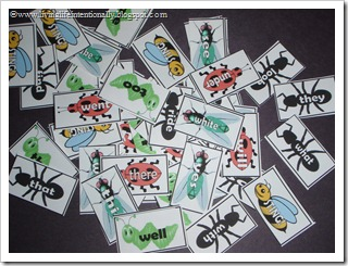 FREE  Printable Dolch Sight Word Game - Bug Sight Words Game for Kindergarten, 1st grade, and 2nd grade homeschoolers