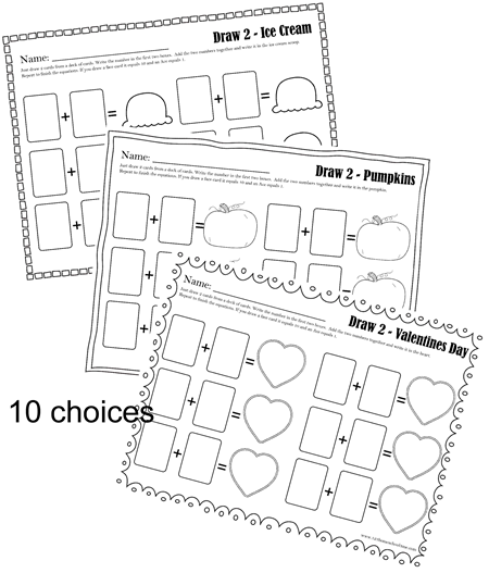 math worksheets - 10 math worksheets that change equation each time you play with the use of a deck of playing cards.