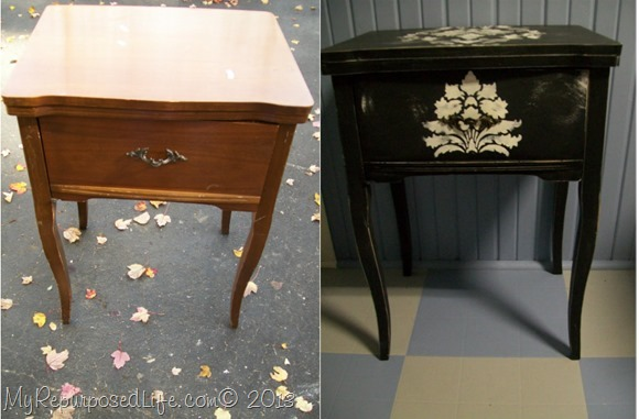 sewing machine cabinet curvy legs damask stencil - Sewing Cabinet Projects - My Repurposed Life®