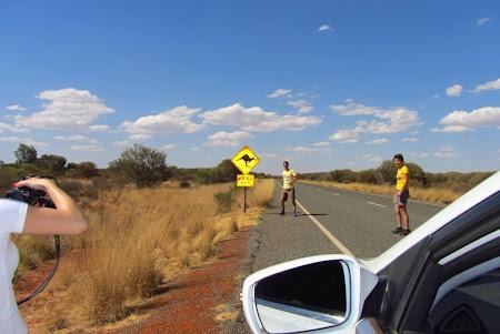 Drumul spre Uluru  Am oprit masina ca sa pozam semnul cu atentie canguri.