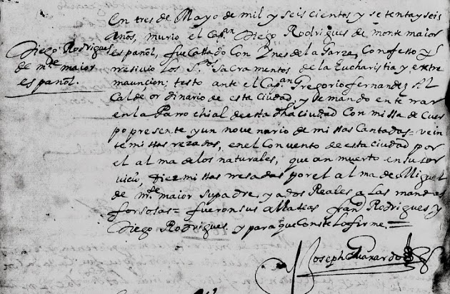 Diego Rodriguez de Montemayor, FamilySearch, Monterrey, Church Death Record, Pg. 14.jpg