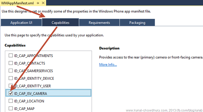 Enable the ID_CAP_ISV_CAMERA Capability in Windows Phone application
