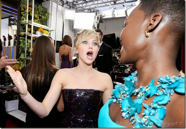 Jennifer Lawrence and Lupita Nyongo at SAG 2014