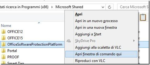 Apri finestra di comando qui menu contestuale Windows