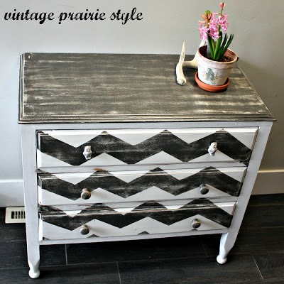 chevron distressed dresser