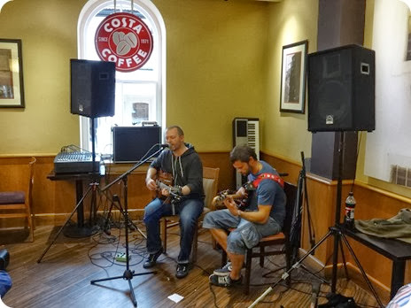 Words and Music Festival 2013 - a duo perform in Costa Coffee (1)