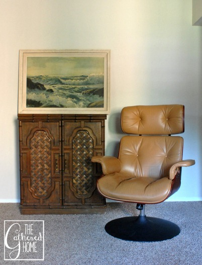 eames style lounge chair and teak bar