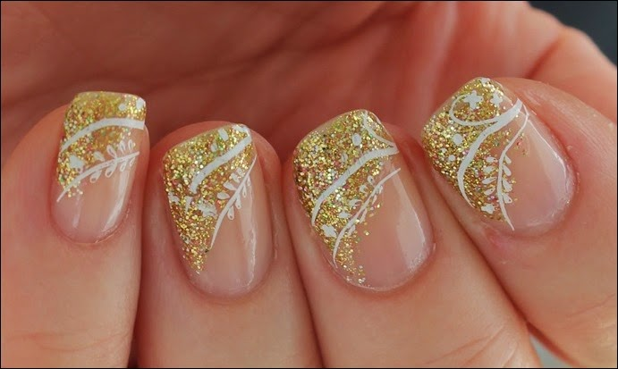 Festive Nailart Gold Glitter Stamping French 07