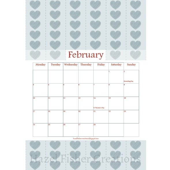 2014Feb01 free printable calendar February hearts grey