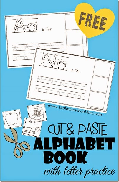 Cut  & Paste Alphabet-Book - This is such a fun way for Preschool and Kindergarten age kids to learn about letters, how to form them, practice making them, and identifying the sounds at the beginning of words! Kids just love making their own books!