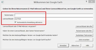 Google Earth Pro: Eingabe des Lizenzschlüssels