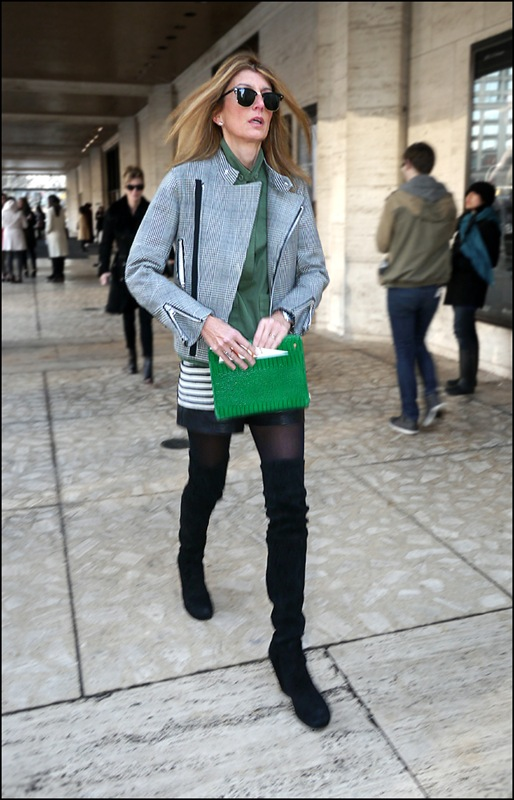 49 grey plaid cloth biker jacket thigh high boots leather shorts green shirt green clutch ol b