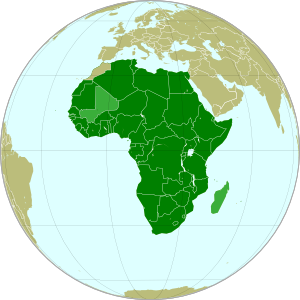 Map of the African Union, marking suspended members Mali and Madagascar