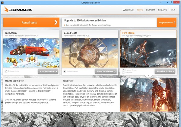3DMark 2013 Main Screen