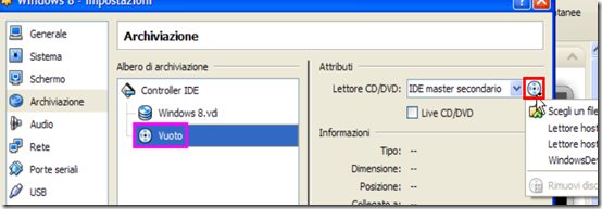 VirtualBox Archiviazione  Windows 8