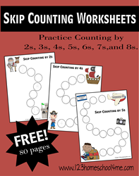 Skip Counting Worksheets 2s, 3s, 4s, 5s, 6s, 7s, and 8s for Elemtary Homeschool Math