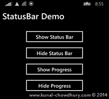 How to show StatusBar in Windows Phone 8.1? (www.kunal-chowdhury.com)