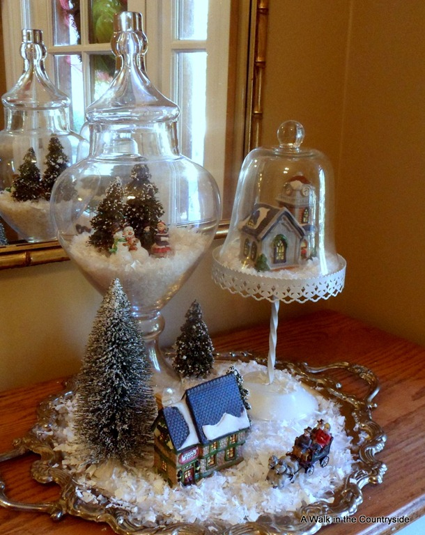dollar tree vignette display with glass cloches
