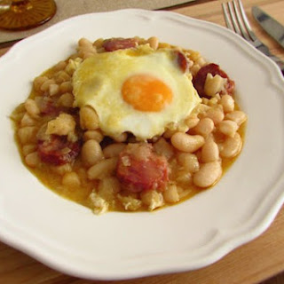 White Beans With Chorizo And Poached Eggs