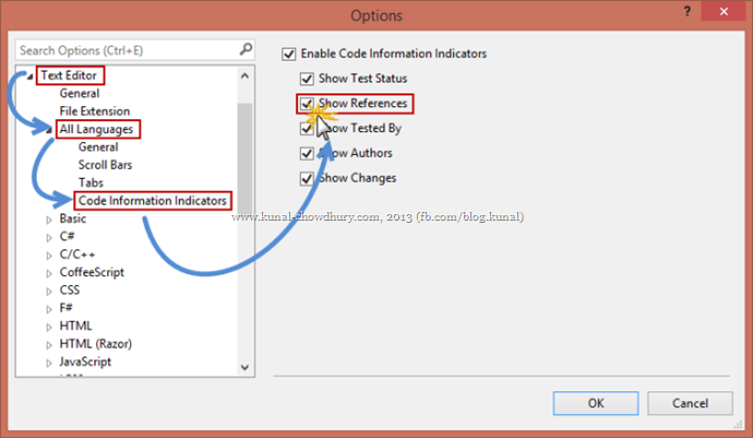 How to enable Reference Indicator in the Code Information