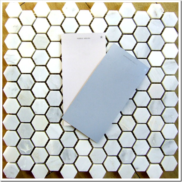 Marble tile and Martha Stewart paint