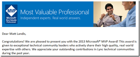 Congratulations 2013 Microsoft MVP! - Message (HTML) _2013-01-01_13-13-19
