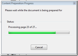 Adobe Reader and Acrobat - Content Preparation Progress: Please wait