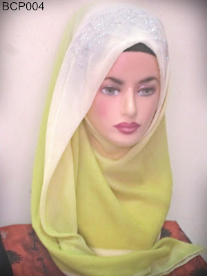 tudung bawal 2 tone crown princess kuning