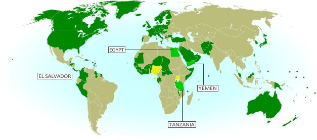 Map of countries that recognize the Republic of Kosovo as an independent state, updated for August 2013 with most recent additions and disputed recognitions highlighted