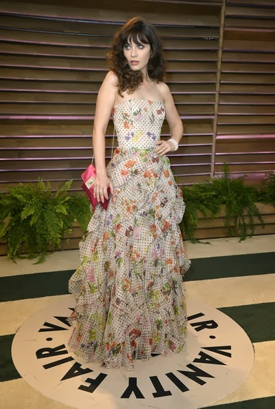 Zooey Deschanel attends the 2014 Vanity Fair Oscar Party