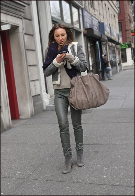 w grey leather pants grey jacket ol