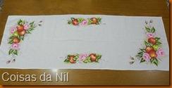 pintura em tecido caminho de mesa com de maças e rosas