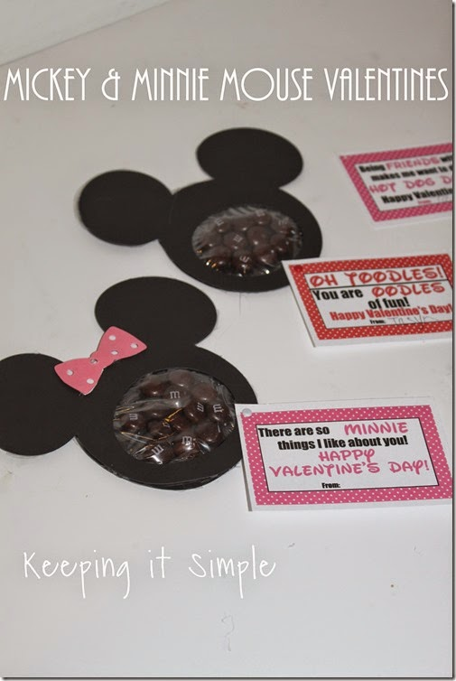 Mickey mouse and Minnie Mouse Homemade Valentines with Printable