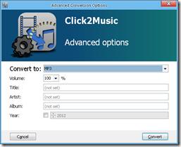 Click2Music Opciones avanzadas