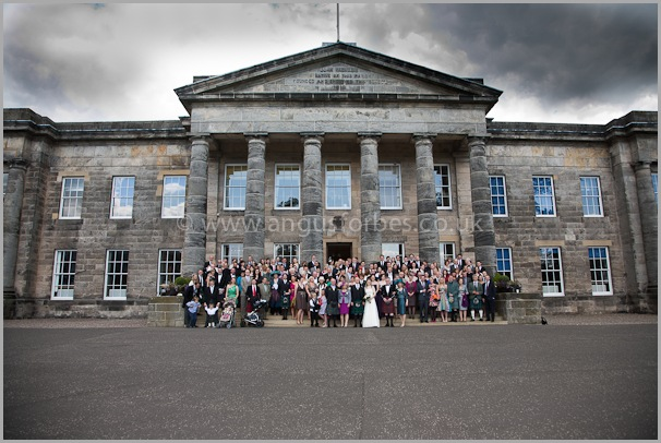 a group of wedding guests at dollar academy scotland