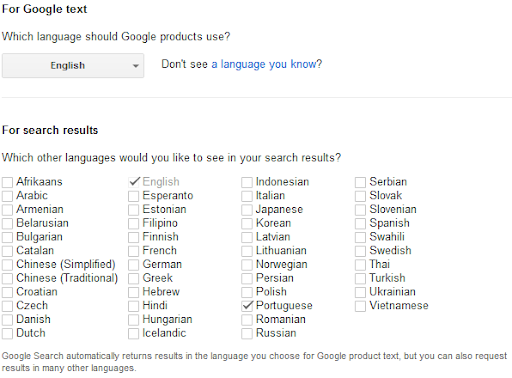 Ative o idioma inglês para ter melhores resultados nas buscas