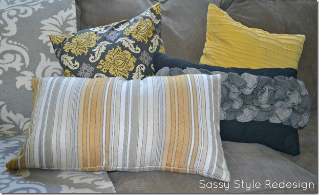 grey & yellow textured pillows