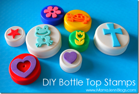Make Your Own Bottle Top Stamps (with foam stickers)