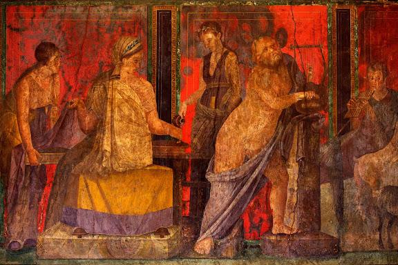 Antigua ciudad romana de Pompeya. Pinturas de la sala del triclinium de la villa de los Misterios. Parecen representar un rito de iniciación femenino ligado al culto de Dionisos. Pompeya, Italia