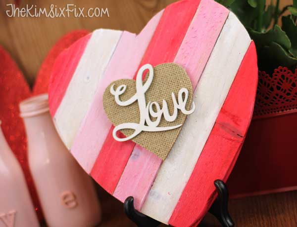 Rustic painted wood heart