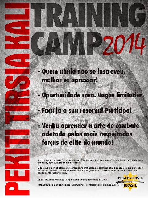 Kali MG - Cartaz Pekiti Tirsia Training Camp