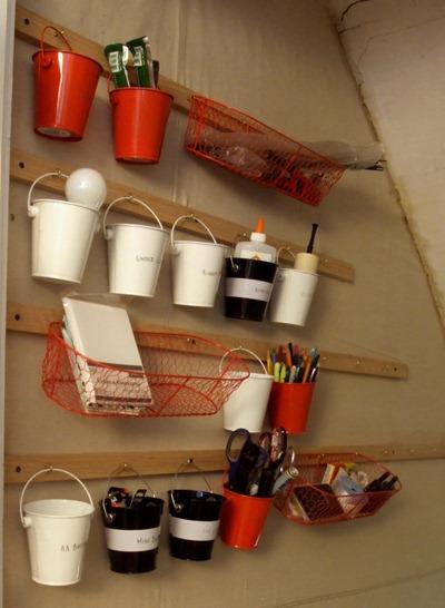 Mini buckets as wall organizers