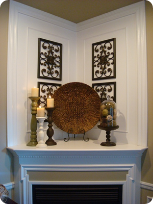 A mirror over the mantel from thrifty decor chick - Decor above fireplace mantel ...