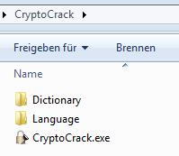 CryptoCrack: die Verzeichnisse auf der Festplatte