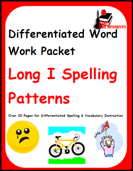 Long I Spelling and Vocabulary packet - four differentiated levels, all free from Raki's Rad Resources.