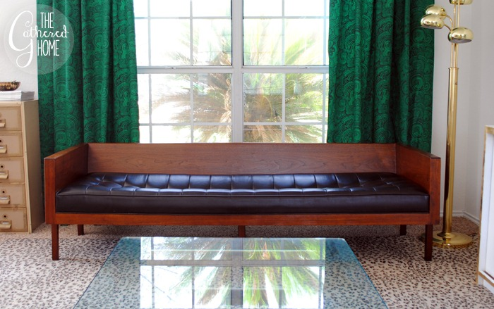 found vintage midcentury wood case sofa7