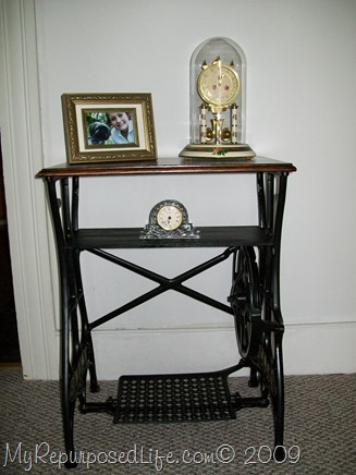 white trestle sewing machine table