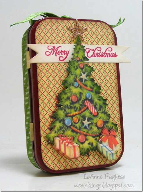 LeAnne Pugliese WeeInklings Front Vintage Christmas Altoid Tin Altered Art Crafty Secrets 2014